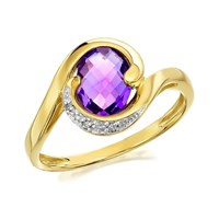 9ct Gold Amethyst And Diamond Ring - D8412-M