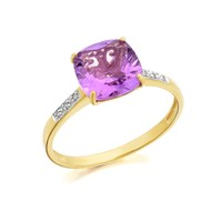 9ct Gold Large Cushion Amethyst And Diamond Ring - D8413-O