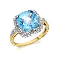 9ct Gold Cushion Blue Topaz And Diamond Ring - 7pts - D8416-M