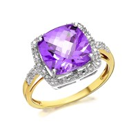 9ct Gold Cushion Amethyst And Diamond Cluster Ring - 7pts - D8417-S