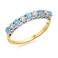 9ct Gold Blue Topaz And Diamond Half Eternity Ring - 8pts - D8418-O