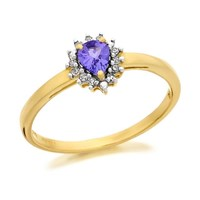 9ct Gold Diamond And Tanzanite Ring - 6pts - D8426-S