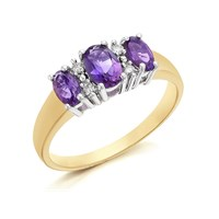 9ct Gold Diamond And Amethyst Ring - 6pts - D8428-S