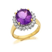 9ct Gold 4.1ct Amethyst And 1/2ct Diamond Cluster Ring - D8432-N