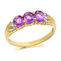 9ct Gold Amethyst And Diamond Ring - EXCLUSIVE - D8444-P