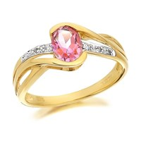 9ct Gold Pink Topaz And Diamond Crossover Ring - D8450-S