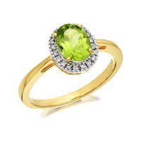 9ct Gold Peridot And Diamond Cluster Ring - 8pts - D8470-O