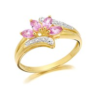 9ct Gold Diamond And Pink Sapphire Ring - EXCLUSIVE - D8488-S