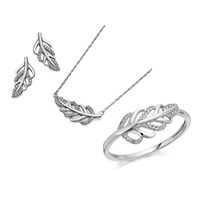 9ct White Gold Diamond Leaf Ring, Earrings And Necklace Gift Set - 20pts - D8606-Q