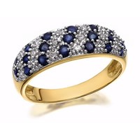 9ct Gold Diamond And Sapphire Band Ring - D8841-S
