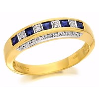 9ct Gold Diamond And Sapphire Half Eternity Ring - 10pts - D8842-S