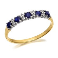 9ct Gold Diamond And Sapphire Ring - 8pts - D8893-N