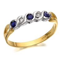 9ct Gold Diamond And Sapphire Wave Ring - D8909-K