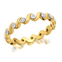 9ct Gold Diamond Wave Full Eternity Ring - 10pts - D8949-K
