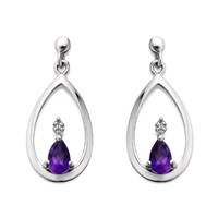 My Diamonds Silver Amethyst And Diamond Pear Drop Earrings  D9033