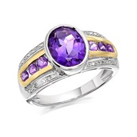 My Diamonds Silver And 9ct Gold Amethyst And Diamond Ring - D9042-P
