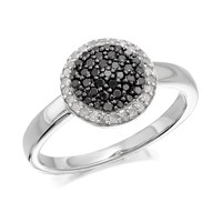 My Diamonds Silver Black And White Diamond Cluster Ring - 1/3ct - D9096-J