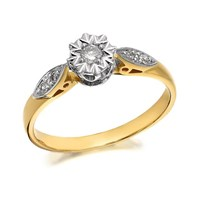 9ct Gold Diamond Ring - 10pts - D9164-K
