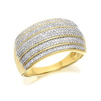 9ct Gold Five Row Diamond Band Ring - 1/2ct - D9209-N