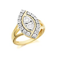 9ct Gold Marquise Diamond Cluster Ring - 15pts - D9212-Q