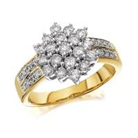9ct Gold 1 Carat Diamond Three Tier Cluster Ring - D9214-N