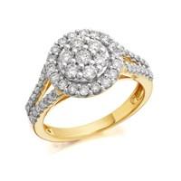 9ct Gold 1 Carat Diamond Halo Cluster Ring - D9218-P