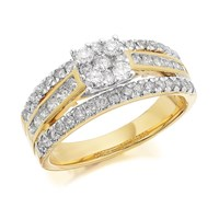 9ct Gold 1 Carat Diamond Triple Band Cluster Ring - D9219-O