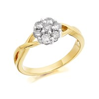 9ct Gold Diamond Cluster Ring - 1/2ct - D9221-R