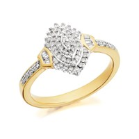 9ct Gold Diamond Cluster Ring - 1/4ct - D9223-P