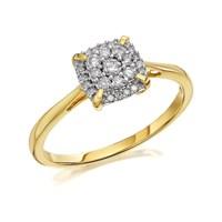 9ct Gold Diamond Cushion Cluster Ring - 1/4ct - D9224-M