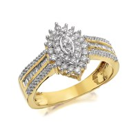 9ct Gold Marquise Diamond Cluster Ring - 1/2ct - D9230-N