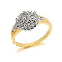 9ct Gold Four Tier Diamond Cluster Ring - 40pts - D9235-J
