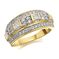 9ct Gold 1 Carat Diamond Triple Band Ring - D9237-S