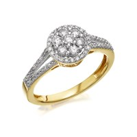 9ct Gold Diamond Split Band Cluster Ring - 1/2ct - D9241-O