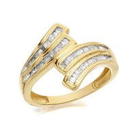 9ct Gold Four Row Diamond Crossover Band Ring - 1/3ct - D9250-Q