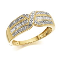 9ct Gold Diamond Crossover Band Ring - 1/4ct - D9253-Q