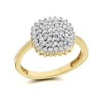 9ct Gold Diamond Four Tier Cluster Ring - 1/2ct - D9274-M