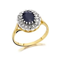 9ct Gold Sapphire And Diamond Cluster Ring - 8pts - D9276-S
