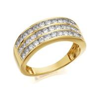 9ct Gold 1 Carat Three Row Diamond Band Ring - D9305-J