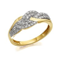 9ct Gold Diamond Triple Weave Band Ring - 1/3ct - D9307-P