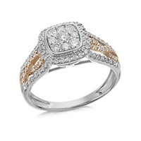 9ct Two Colour Gold Diamond Cushion Cluster Ring - 60pts - D9315-M