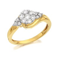 9ct Gold Diamond Crossover Cluster Ring - 1/2ct - D9317-O