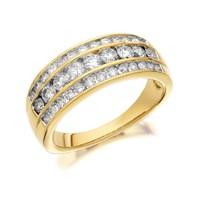 9ct Gold 1 Carat Three Row Diamond Band Ring - D9319-R