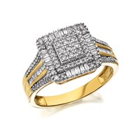 9ct Gold Diamond Cushion Cluster Ring - 1/2ct - D9320-Q