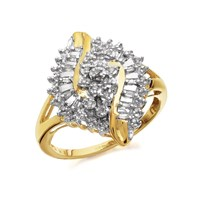 9ct Gold Diamond Cluster Ring - 20pts - D9322-R