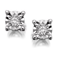 9ct White Gold Diamond Earrings - 10pts per pair - D9422