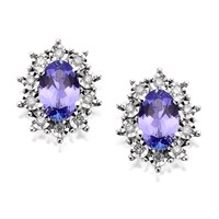 9ct White Gold Tanzanite And Diamond Cluster Earrings  D9452