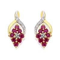 9ct Gold Ruby And Diamond Cluster Earrings - D9454