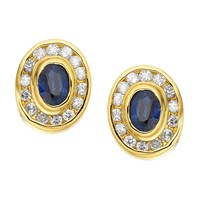 9ct Gold Sapphire And Diamond Oval Cluster Earrings - 20pts per pair - D9457