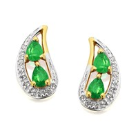 9ct Gold Emerald And Diamond Earrings - 6pts per pair - D9463